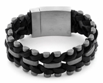 Stainless Steel Black Woven Leather Bracelet