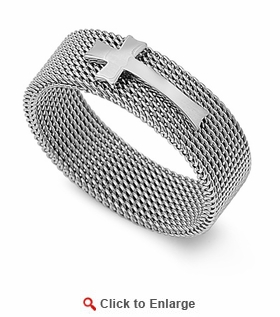 Stainless Steel Cross 8MM Mesh Ring