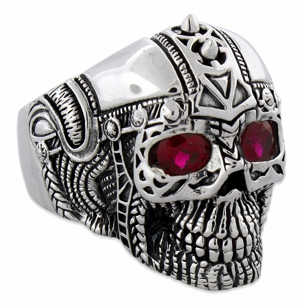 Sterling Silver Ancient Guard Skull Ring With CZ Eyes