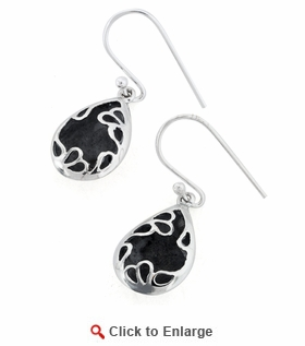 Sterling Silver Hollow Unique Teadrop Oxidized Dangle Earrings