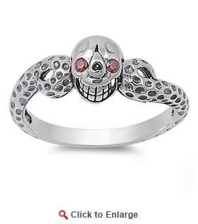 Sterling Silver Ladies Red Eyed Skull Ring