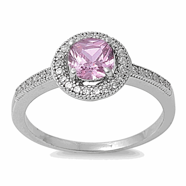 sterling silver pink cz halo engagement ring