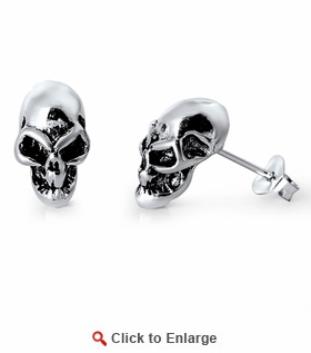 Sterling Silver Skull Stud Earrings