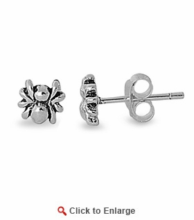 Sterling Silver Small Spider Stud Earrings