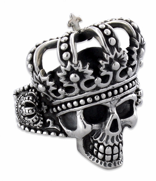 Sterling Silver The King Skull Ring