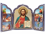 Christ The Teacher / Archangels / Nativity,  Triptych Orthodox Icon