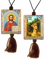 Christ The Teacher & St. Seraphim Reversible Car Icon on Rope