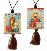 Christ The Teacher & Virgin of Kazan   Reversible Car Icon on Rope