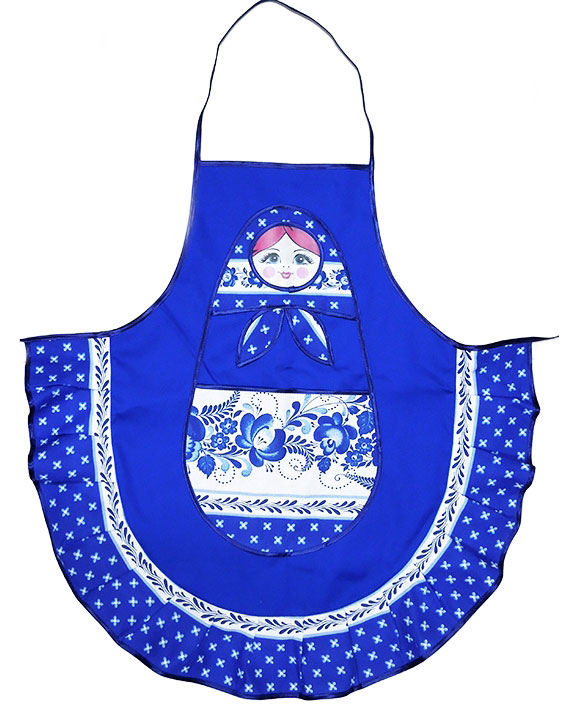 Fabric Russian Matreshka Apron, Blue  at Holy Trinity Store