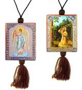 Guardian Angel and  St. Seraphim, Reversible Car Icon on Rope