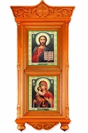 Large Wooden Shrine with Icons Christ The Teacher and Virgin Mary Fedorovska