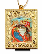 Nativity of Christ, Framed Orthodox Mini  Icon with Stand