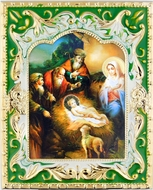 Nativity of Christ  Icon in Enameled Frame with Stand