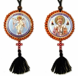 Reversible Beaded Icon of St Nicholas &  Guardian Angel on Rope w/Cross