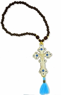 Reversible Wooden Cross with Beads, Blue Tassel