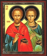 "Saints Cosma and Damian, ""The Healers"", Orthodox Mini Icon"