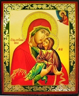 St. Anna and Virgin Mary, Orthodox Christian  Mini Icon, Gold Foil