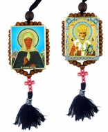 St. Nicholas and St.Matrona, Reversible Beaded Icons on Rope