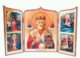 "St Nicholas ""Wonderworker""  with the Scenes of  St Nicholas Life, Serigraph Triptych"