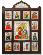 The Holy Family and Saints, Serigraph Icons Set  in Silver Riza