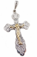 Two Tone Sterling Silver Cross with 14kt Gold  Corpus Crucifix, Large