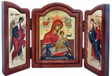 Virgin Mary and Child, Greek Silk Screen Serigraph Framed Triptych Icon. Foldable