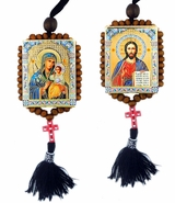 Virgin Mary Eternal Bloom and Christ The Teacher, Reversible Beaded Icons on Rope