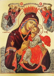Virgin Mary Glykophilousa (Sweet Kissing), Greek Orthodox Byzantine  Icon