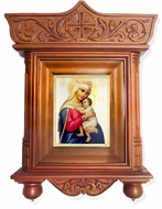 """Virgin Mary """"Refuge of Hopeless"""" Icon  in Wood Shrine with Glass"""