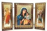Virgin Mary the Eternal Bloom  / Archangels Michael and Gabriel, Mini Triptych