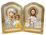 Virgin of Kazan and Christ The Teacher, Orthodox Wooden Diptych
