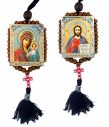 Virgin of Kazan and Christ The Teacher, Reversible Beaded Icons on Rope