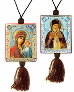 Virgin of Kazan and St. Luke, Reversible Car Icon on Rope
