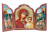 Virgin of Kazan / Archangels / Nativity,  Triptych Orthodox Icon