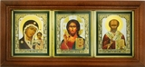 Virgin of Kazan, Christ The Teacher, St Nicholas Triptych in  Frame with Glass