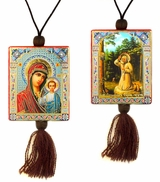 Virgin of Kazan   &  St. Seraphim Reversible Car Icon on Rope