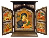 Virgin of Passion - Lady of Perpetual Help, Serigraph Orthodox Triptych