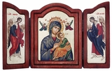 Virgin of Passion - Lady of Perpetual Help, Triptych Serigraph Orthodox  Icon