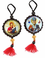 Virgin of Smolensk and St. Nicholas, Reversible Beaded Icons on Rope