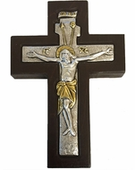 Wall Cross with Corpus Crucifix, Silver 925, Gold Plated