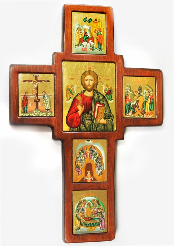 wooden wall cross with set of framed orthodox icons made in greece loading zoom