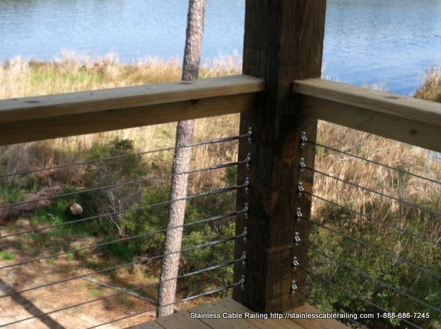 Cable Railing System on a Wood Handrail and Posts Aurora North Carolina