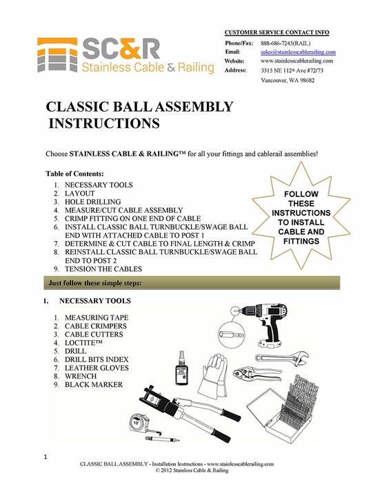 Classic Ball Turnbuckle and Swage Ball End Fitting - Assembly Instructions