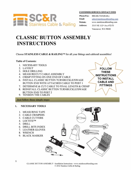 <STRONG>Classic Button Turnbuckle and Swage Button End Fitting - Assembly Instructions</STRONG>