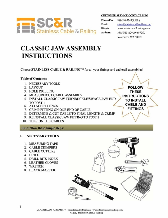 Classic Jaw Turnbuckle and Swage Jaw End Fitting - Assembly Instructions