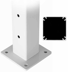 Aluminum cable railing deck mount intermediate post with base plate
