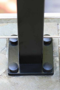 Aluminum cable railing post with hinged screw covers