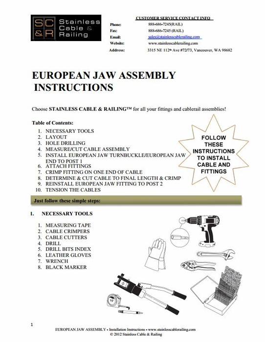 <STRONG>European Jaw Turnbuckle and European Jaw End Fitting - Assembly Instructions</STRONG>
