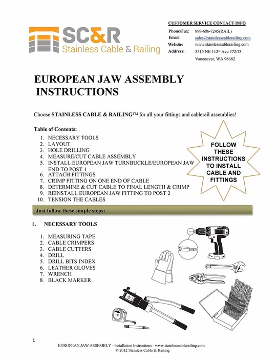 European Jaw Turnbuckle and European Jaw End Fitting - Assembly Instructions