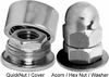 Quicknut and Acorn Hex Nut end hardware for cable railing assembly